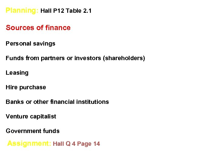 Planning: Hall P 12 Table 2. 1 Sources of finance Personal savings Funds from