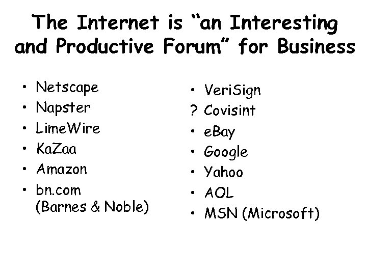 "The Internet is ""an Interesting and Productive Forum"" for Business • • • Netscape"