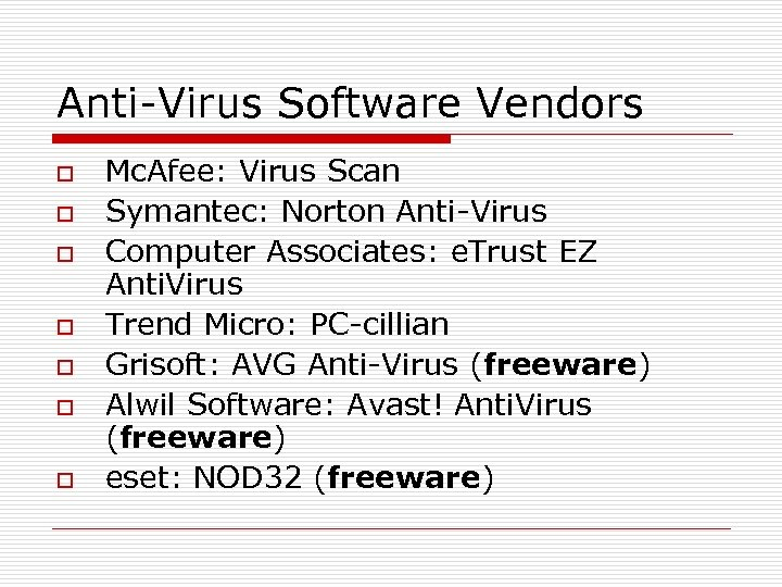 Anti-Virus Software Vendors o o o o Mc. Afee: Virus Scan Symantec: Norton Anti-Virus