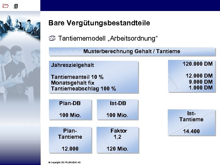 """1 4 Bare Vergütungsbestandteile a Tantiememodell """"Arbeitsordnung"""" Musterberechnung Gehalt / Tantieme 120. 000 DM"""