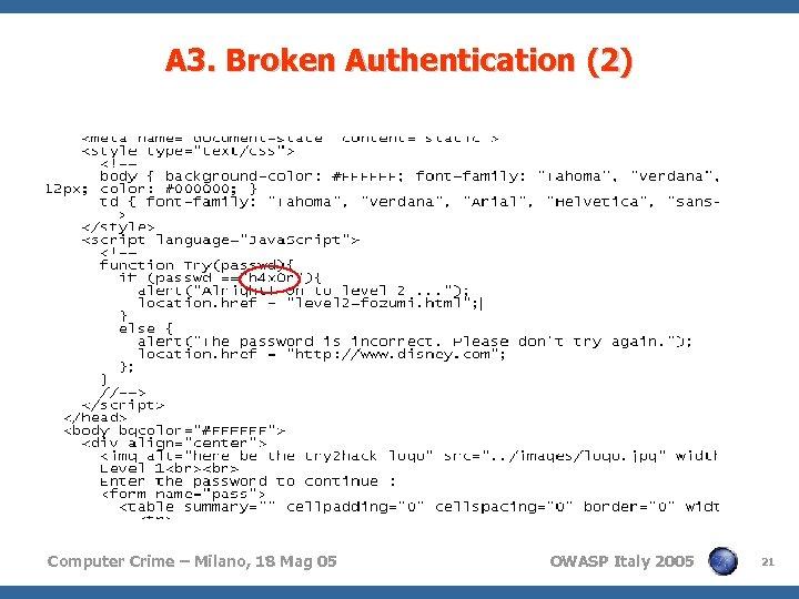 A 3. Broken Authentication (2) Computer Crime – Milano, 18 Mag 05 OWASP Italy