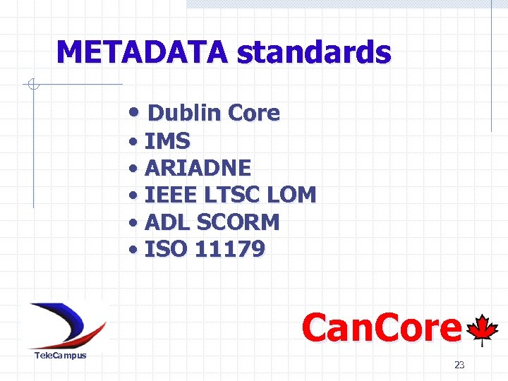 METADATA standards • Dublin Core • IMS • ARIADNE • IEEE LTSC LOM •