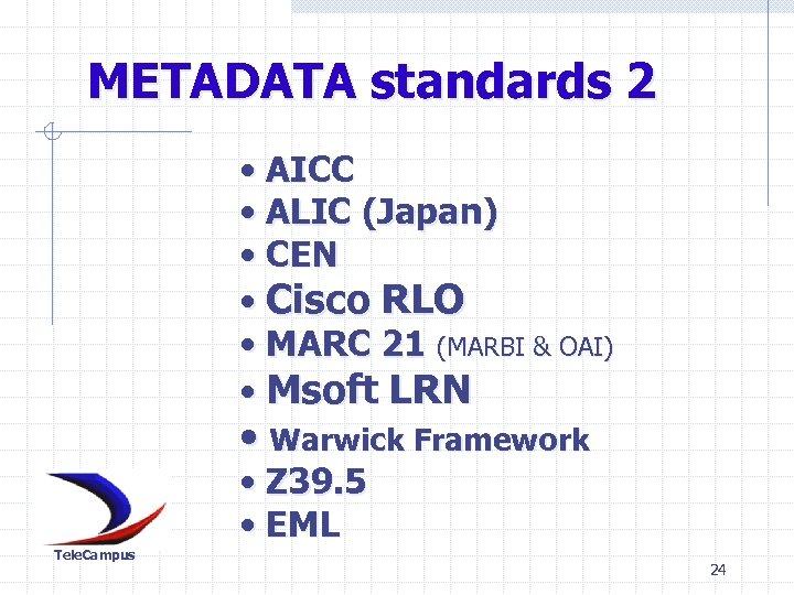 METADATA standards 2 • AICC • ALIC (Japan) • CEN • Cisco RLO •