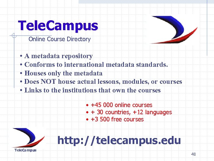 Tele. Campus Online Course Directory • A metadata repository • Conforms to international metadata