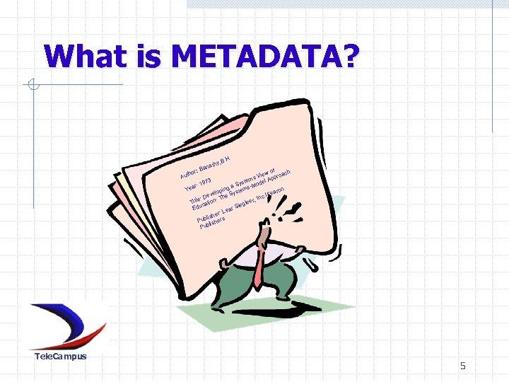What is METADATA? . H. y , B nath : Ba of ach hor