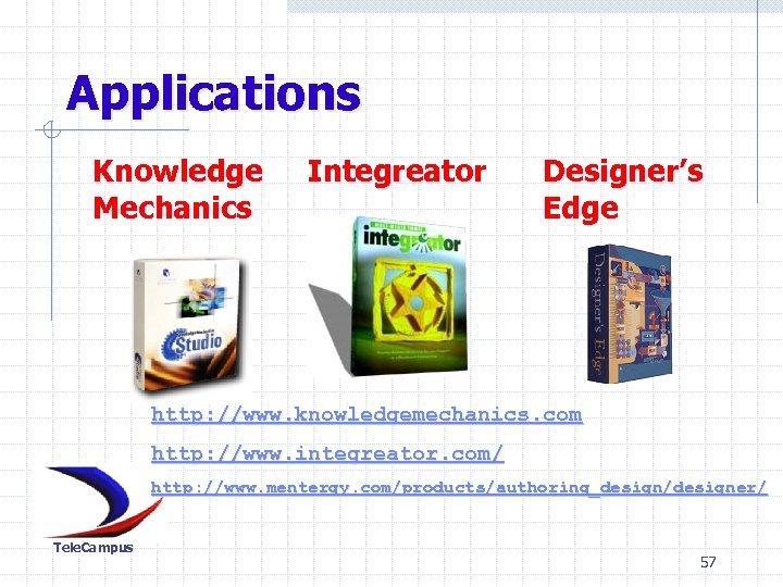 Applications Knowledge Mechanics Integreator Designer's Edge http: //www. knowledgemechanics. com http: //www. integreator. com/
