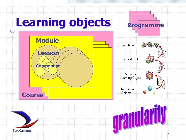 Learning objects Programme Module Lesson Component Course Tele. Campus 9