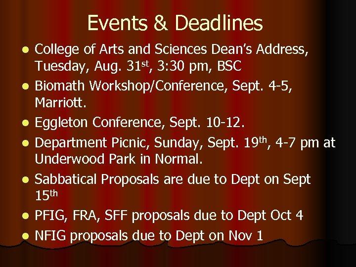 Events & Deadlines l l l l College of Arts and Sciences Dean's Address,