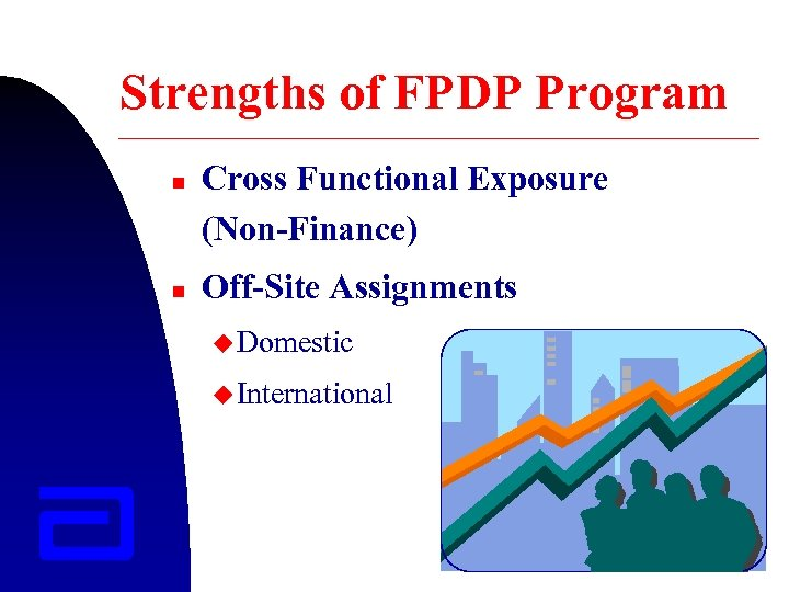 Strengths of FPDP Program n n Cross Functional Exposure (Non-Finance) Off-Site Assignments u Domestic