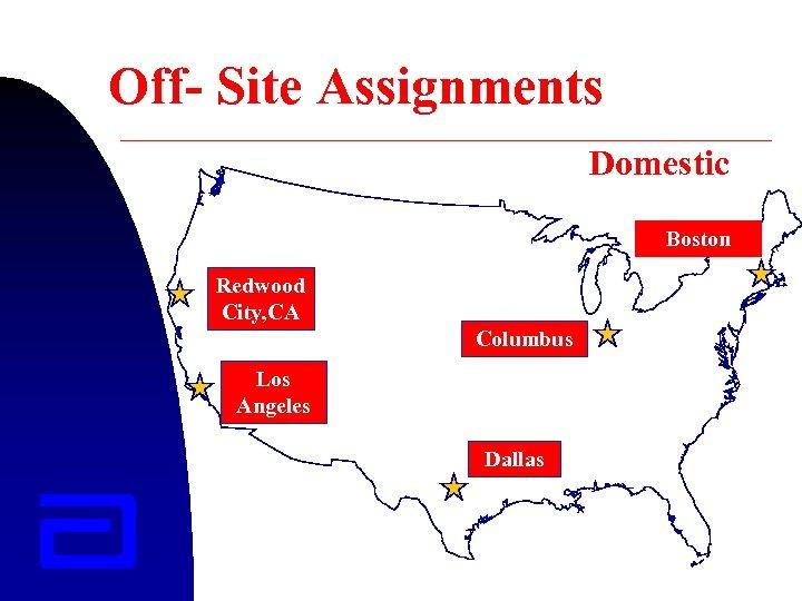 Off- Site Assignments Domestic Boston Redwood City, CA Columbus Los Angeles Dallas