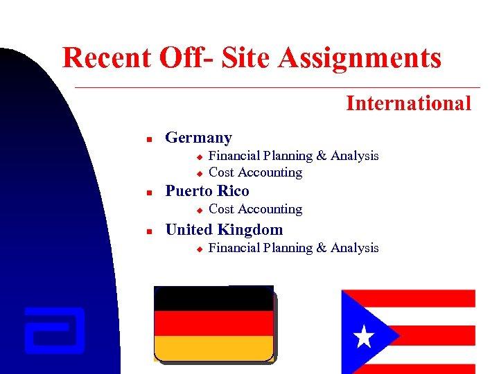 Recent Off- Site Assignments International n Germany u u n Puerto Rico u n