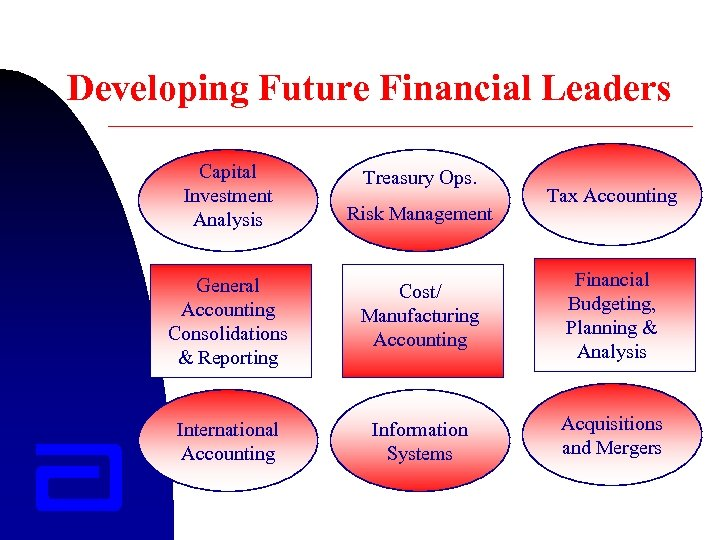 Developing Future Financial Leaders Capital Investment Analysis Treasury Ops. Risk Management Tax Accounting General