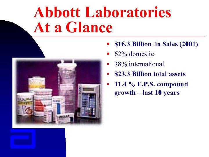 Abbott Laboratories At a Glance § $16. 3 Billion in Sales (2001) § 62%