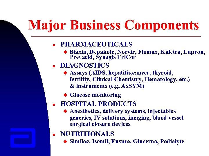 Major Business Components n PHARMACEUTICALS u n DIAGNOSTICS u u n Assays (AIDS, hepatitis,
