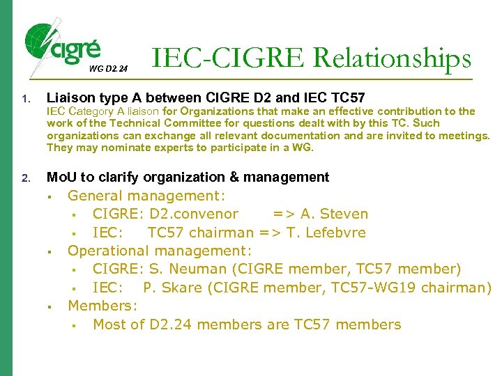 WG D 2. 24 1. IEC-CIGRE Relationships Liaison type A between CIGRE D 2