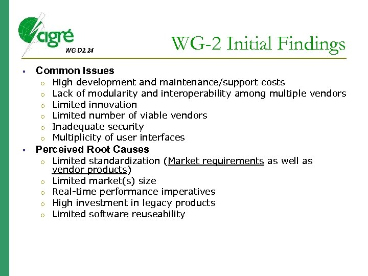 WG D 2. 24 Common Issues o o o WG-2 Initial Findings High development