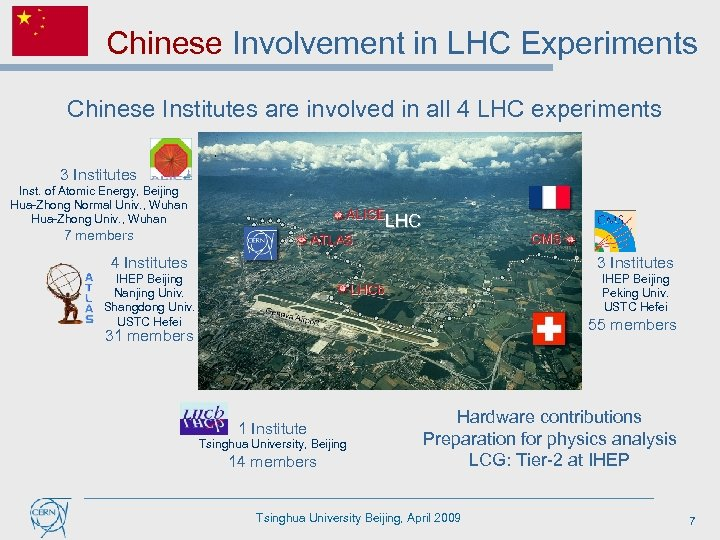 Chinese Involvement in LHC Experiments Chinese Institutes are involved in all 4 LHC experiments