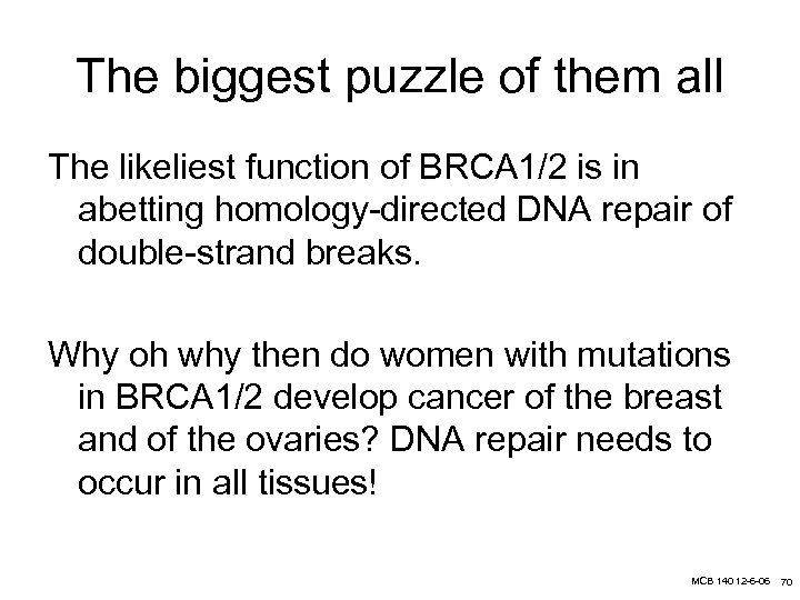 The biggest puzzle of them all The likeliest function of BRCA 1/2 is in