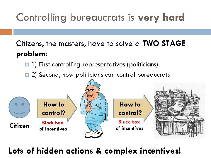 Controlling bureaucrats is very hard Citizens, the masters, have to solve a TWO STAGE