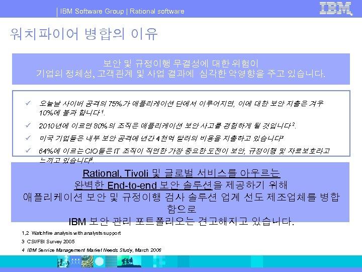 IBM Software Group   Rational software 워치파이어 병합의 이유 보안 및 규정이행 무결성에 대한