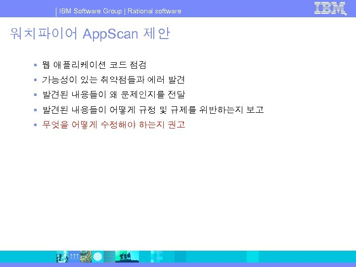 IBM Software Group   Rational software 워치파이어 App. Scan 제안 § 웹 애플리케이션 코드