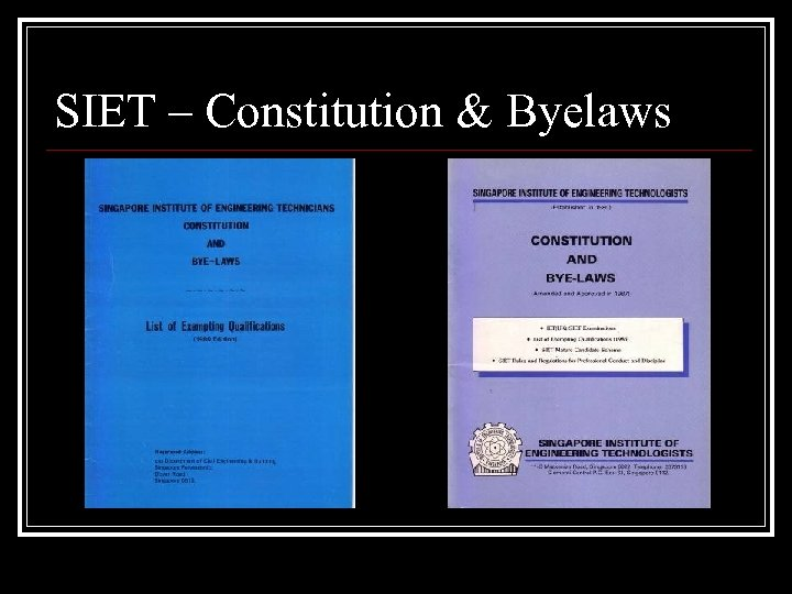 SIET – Constitution & Byelaws
