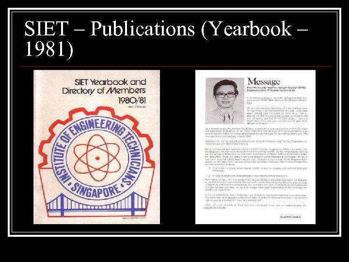 SIET – Publications (Yearbook – 1981)