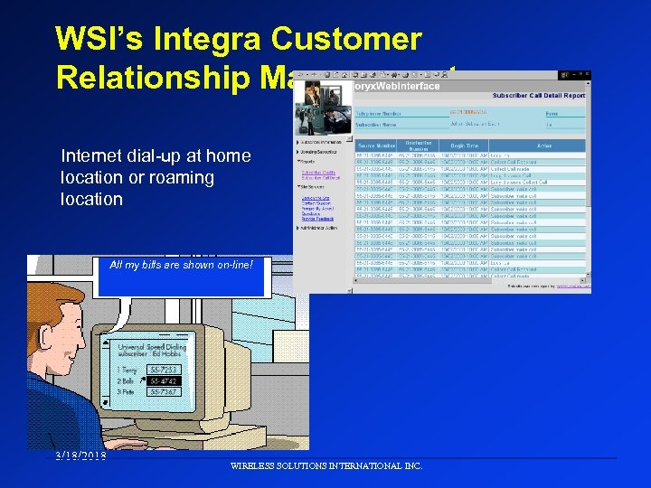 WSI's Integra Customer Relationship Management Internet dial-up at home location or roaming location All