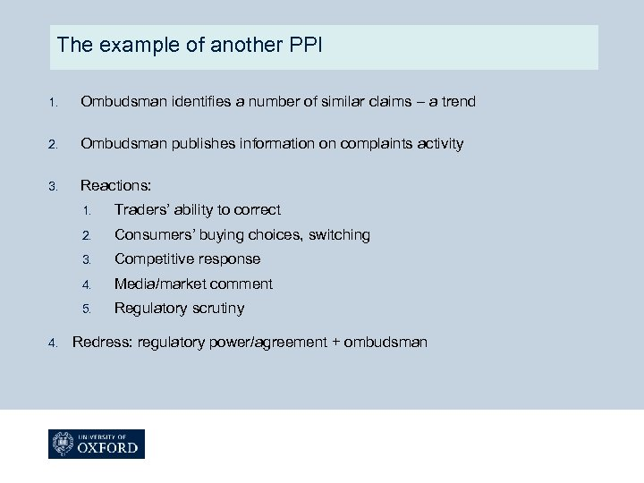 The example of another PPI 1. Ombudsman identifies a number of similar claims –