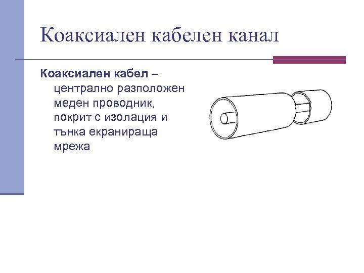 Коаксиален кабелен канал Коаксиален кабел – централно разположен меден проводник, покрит с изолация и
