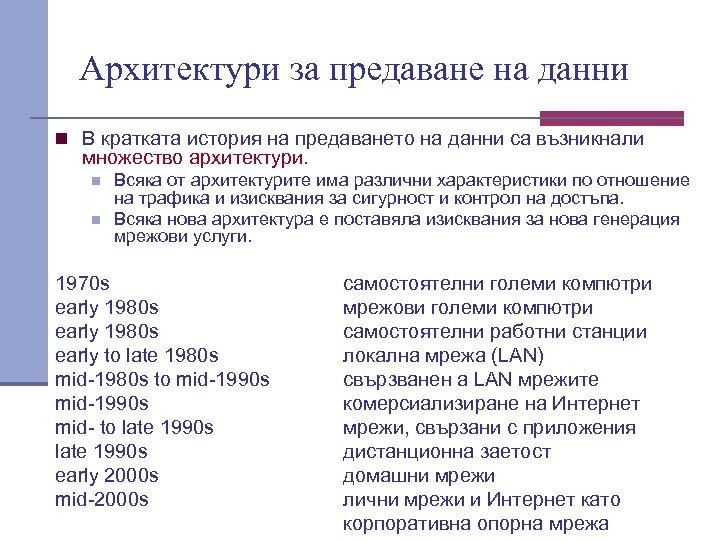 Архитектури за предаване на данни n В кратката история на предаването на данни са