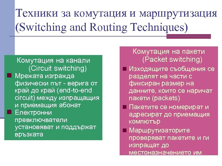 Техники за комутация и маршрутизация (Switching and Routing Techniques) Комутация на канали (Circuit switching)