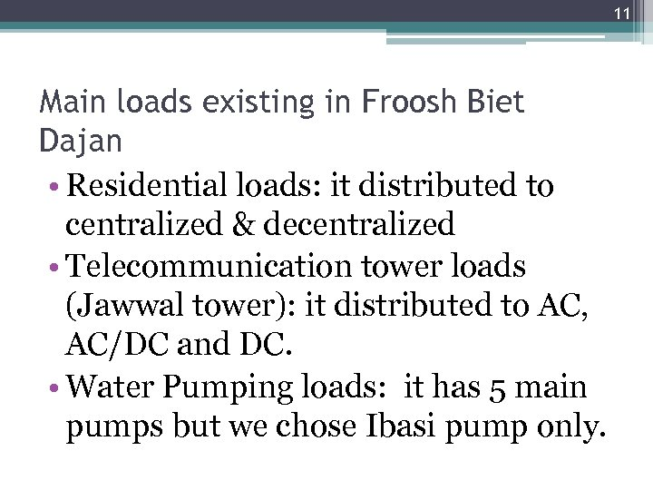 11 Main loads existing in Froosh Biet Dajan • Residential loads: it distributed to