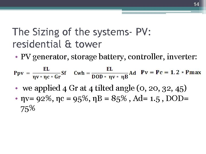 14 The Sizing of the systems- PV: residential & tower • PV generator, storage