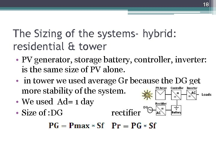 18 The Sizing of the systems- hybrid: residential & tower • PV generator, storage