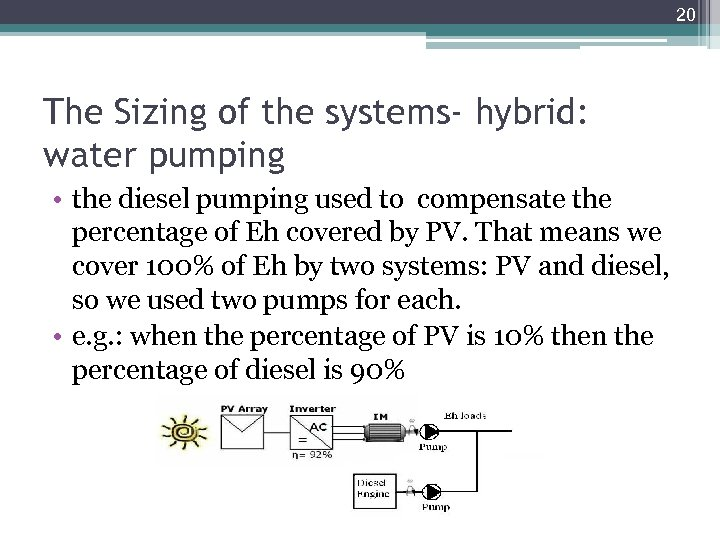 20 The Sizing of the systems- hybrid: water pumping • the diesel pumping used