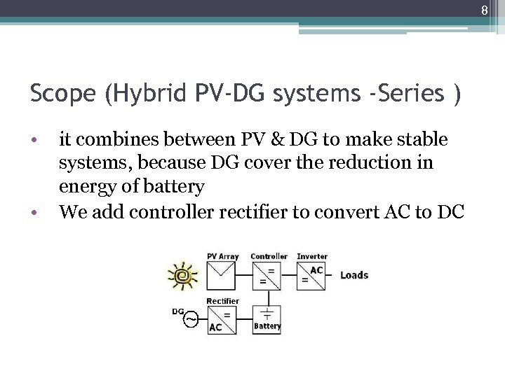 8 Scope (Hybrid PV-DG systems -Series ) • • it combines between PV &