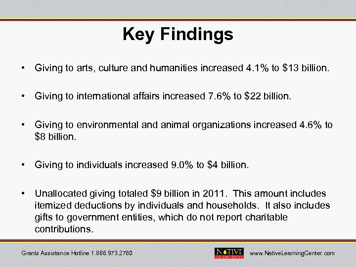 Key Findings • Giving to arts, culture and humanities increased 4. 1% to $13