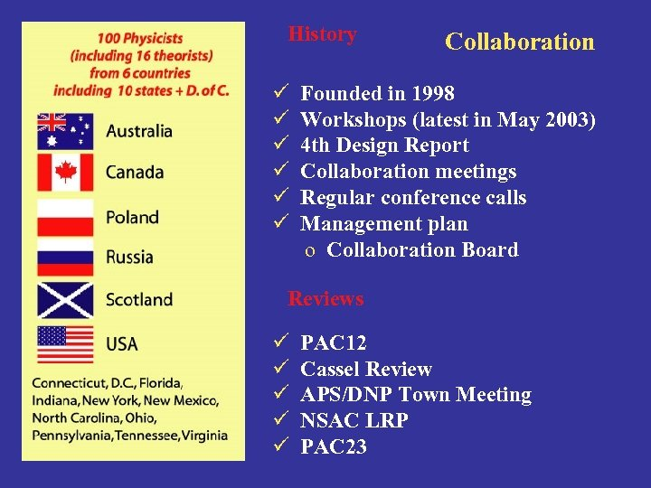 History ü ü ü Collaboration Founded in 1998 Workshops (latest in May 2003) 4