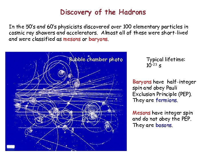 Discovery of the Hadrons In the 50's and 60's physicists discovered over 100 elementary