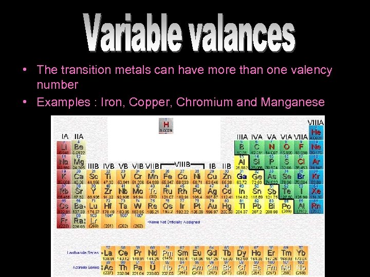 • The transition metals can have more than one valency number • Examples