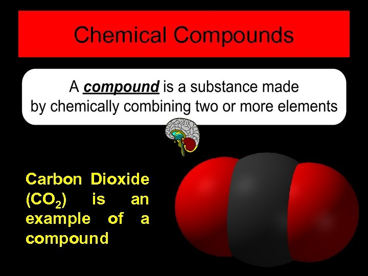 Chemical Compounds Carbon Dioxide (CO 2) is an example of a compound