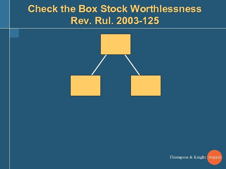 Check the Box Stock Worthlessness Rev. Rul. 2003 -125