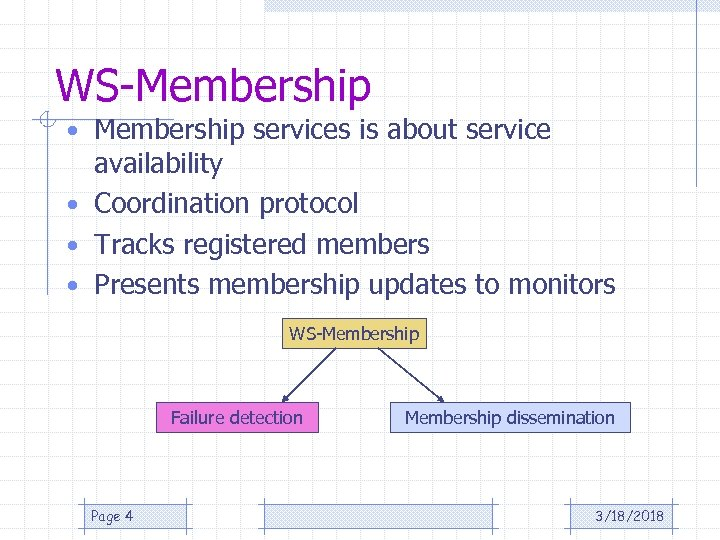 WS-Membership • Membership services is about service availability • Coordination protocol • Tracks registered