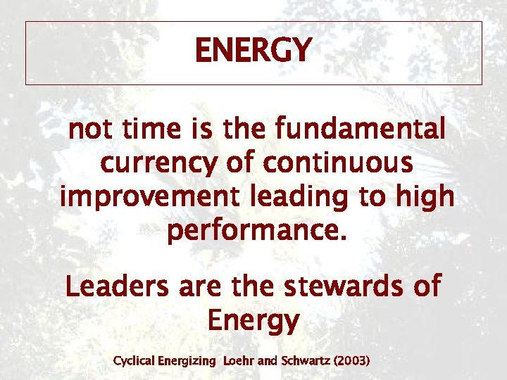 ENERGY not time is the fundamental currency of continuous improvement leading to high performance.