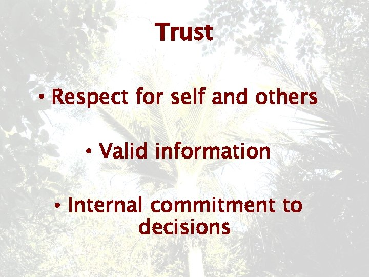 Trust • Respect for self and others • Valid information • Internal commitment to