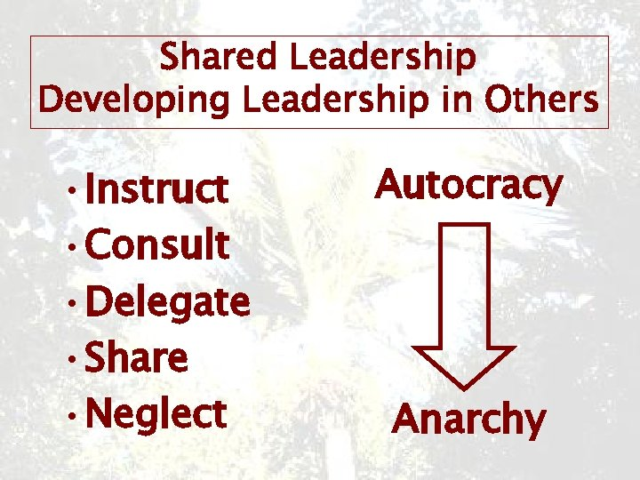 Shared Leadership Developing Leadership in Others • Instruct • Consult • Delegate • Share
