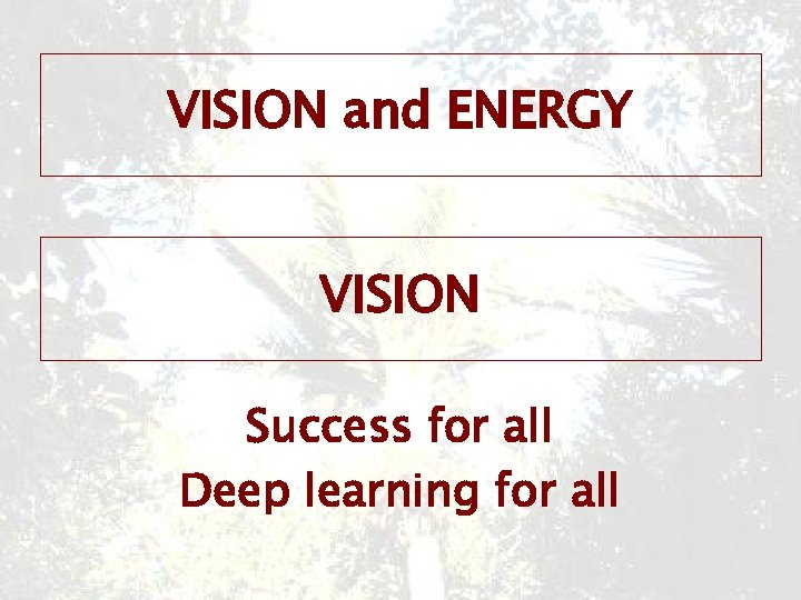 VISION and ENERGY VISION Success for all Deep learning for all
