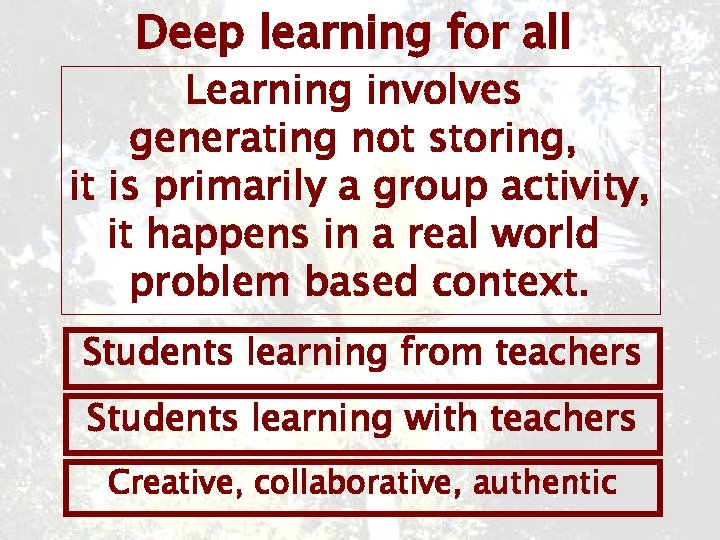 Deep learning for all Learning involves generating not storing, it is primarily a group