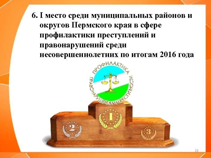 6. I место среди муниципальных районов и округов Пермского края в сфере профилактики преступлений